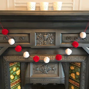 Christmas Red & White  Pom Pom Garland/Bunting