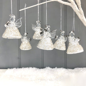 Christmas Glass Angels Set Of Six