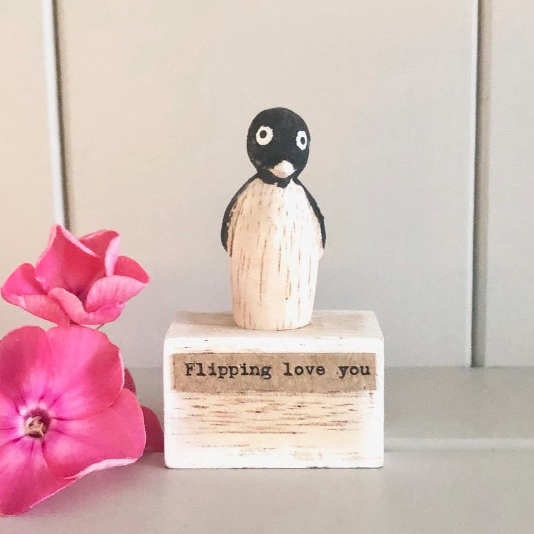 Handmade Wooden Penguin Keepsake
