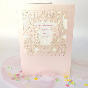 Delicate Cut Card Baby Card