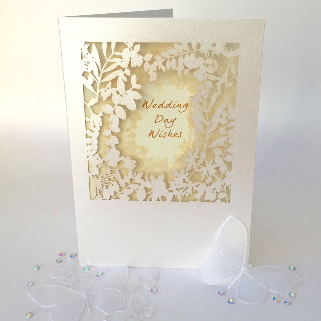 Delicate Cut Card Wedding Day Wishes