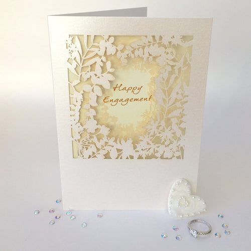 Delicate Cut Card Happy Engagement
