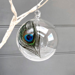 Christmas Glass Bauble with Feather