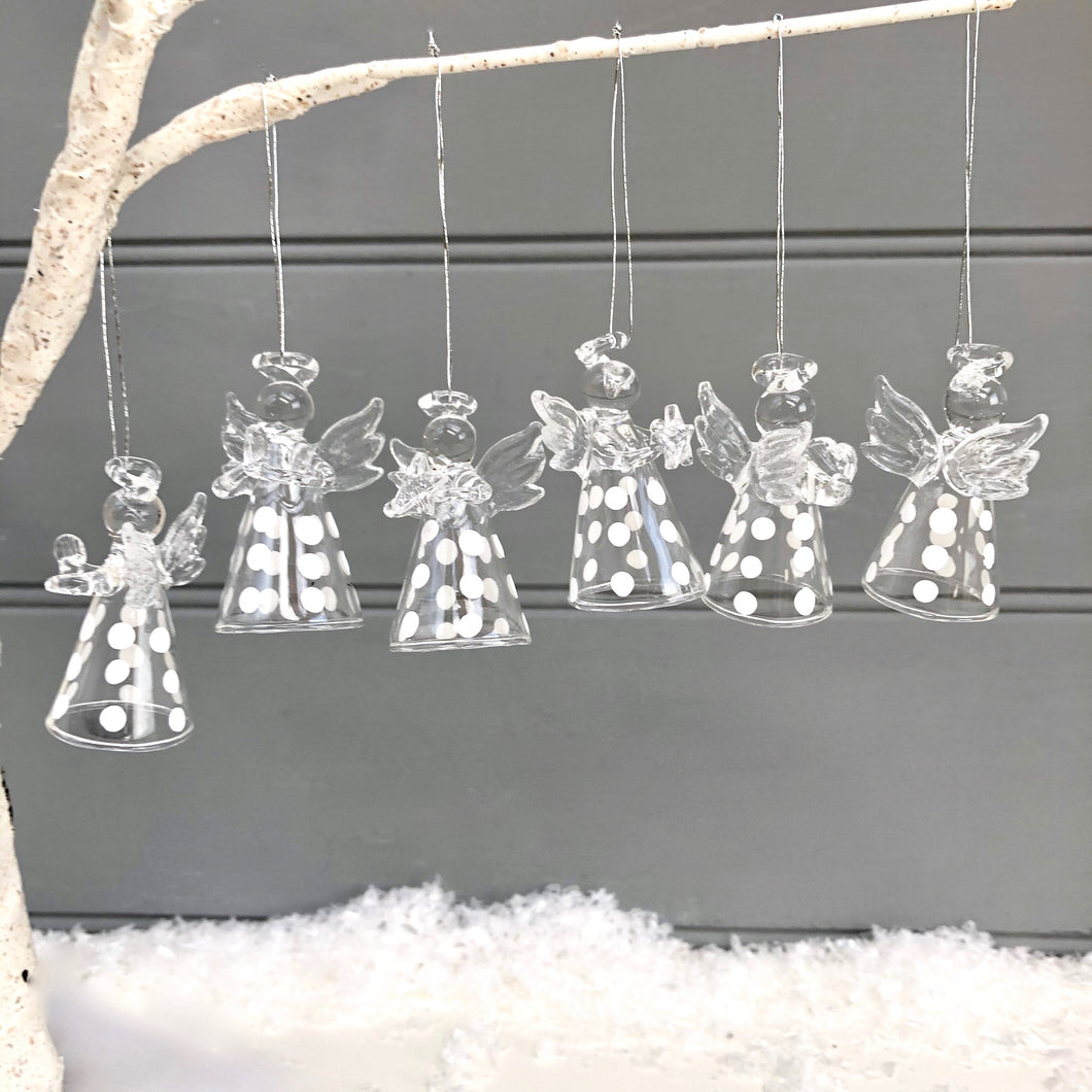 Christmas Polka Dot Glass Angel Set