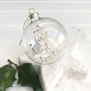 Our First Christmas Together Glass Bauble