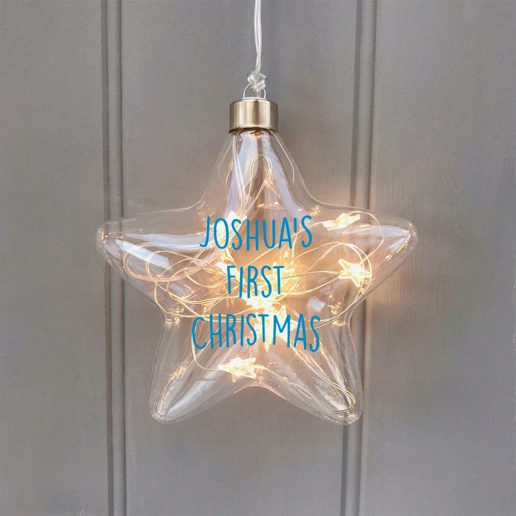 Personalised Baby's First Christmas Light Up Star