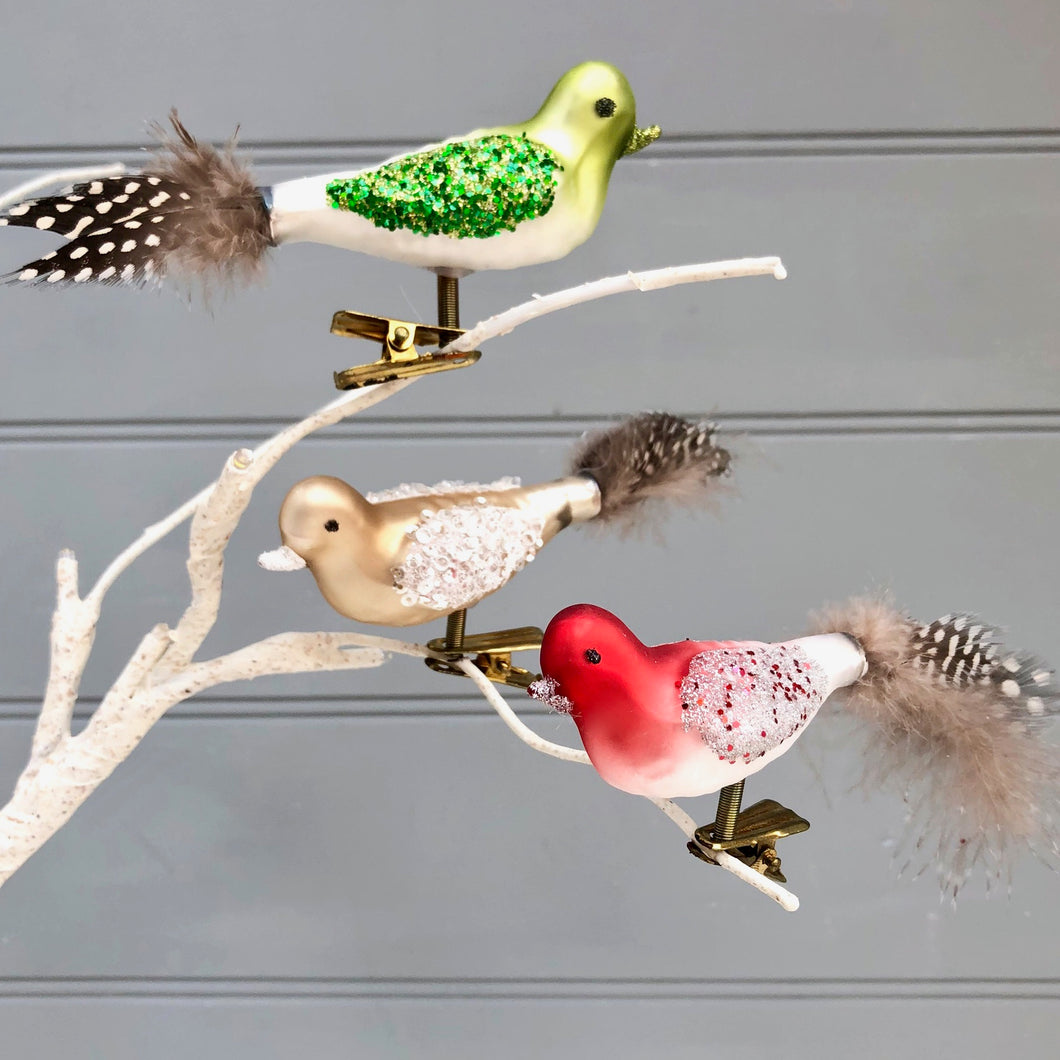 Set Of Christmas Clip On Birds