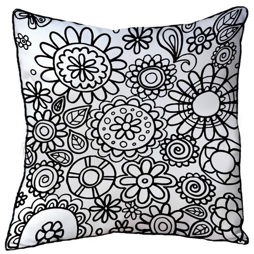 Colour In Cushion Flowers Design