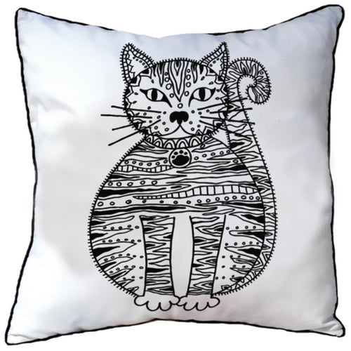 Colour In Cushion Cat Design