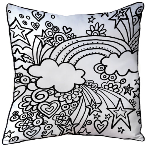 Colour In Cushion Rainbow Design