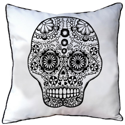 Colour In Cushion Skull Design