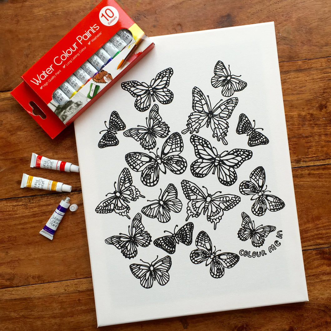 Colouring In Painting Kit Butterflies Canvas