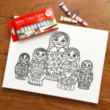 Colouring In Painting Kit Flowers Canvas
