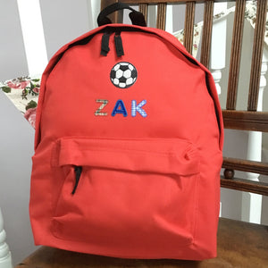 Football Motif Personalised Backpack