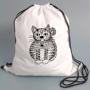 Colour Me In Cat Drawstring Bag