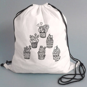 Colour Me In Cupcakes Drawstring Bag