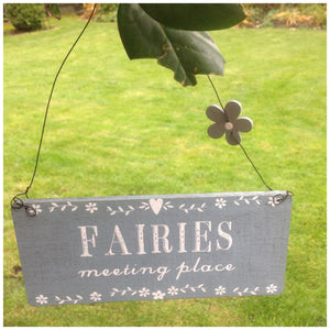 Hanging Fairy Sign with Flower