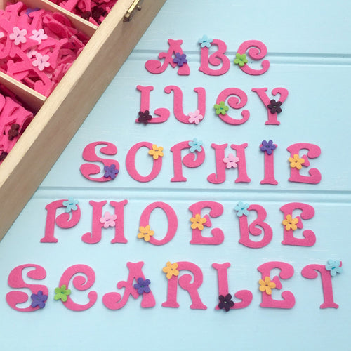 Embroidered Iron On Patch Pink Felt Alphabet