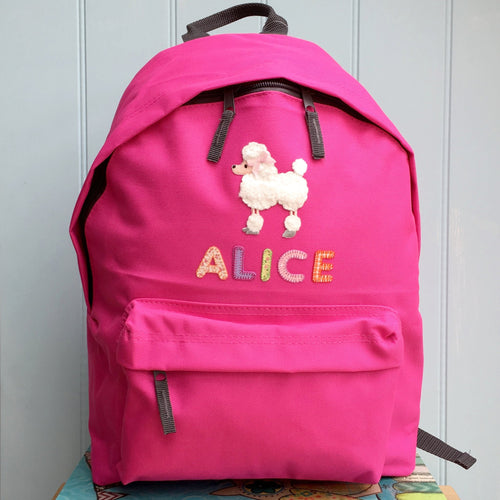 Poodle Applique Personalised Backpack