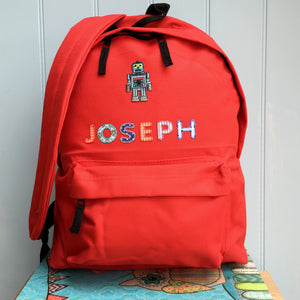 Robot Applique Personalised Backpack