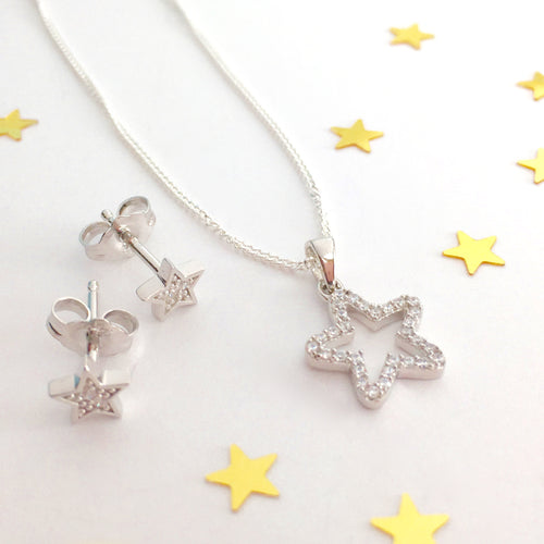Sterling Silver Star Necklace Set
