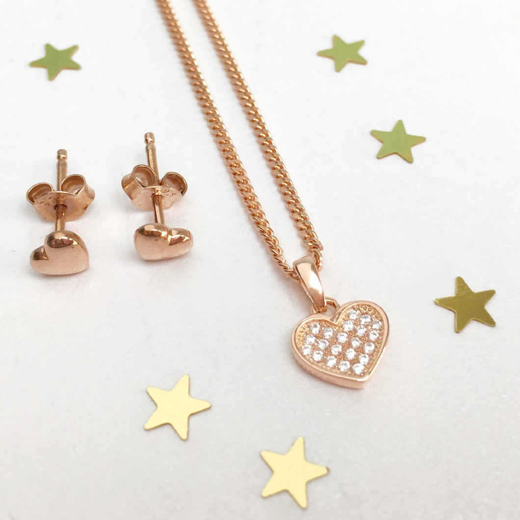 Rose Gold Tiny Heart Necklace Set