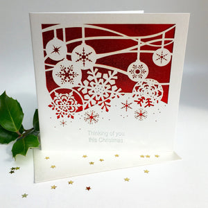 Christmas Card red Thinking of You