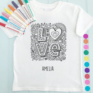 Love T-Shirt Personalised To Colour in