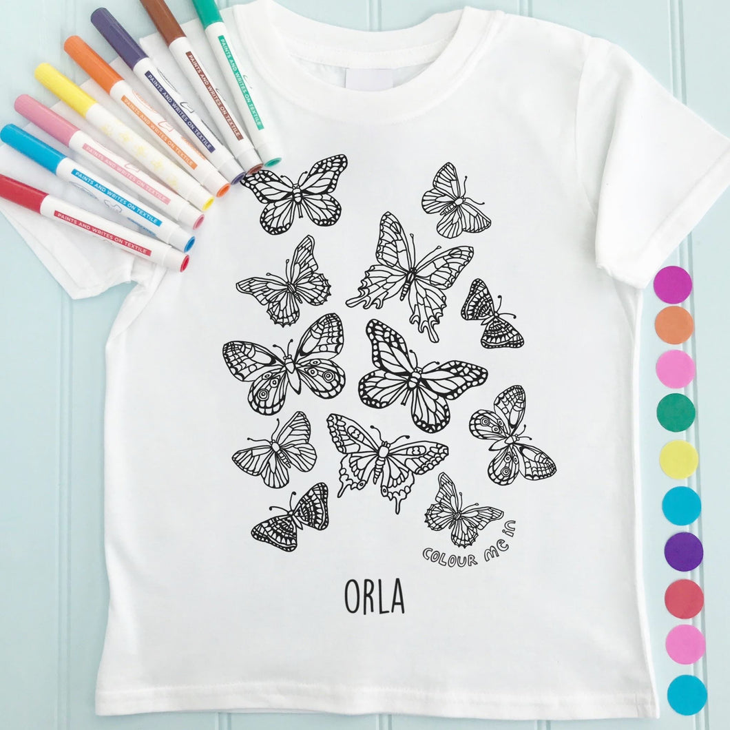 Butterflies T-Shirt Personalised To Colour in