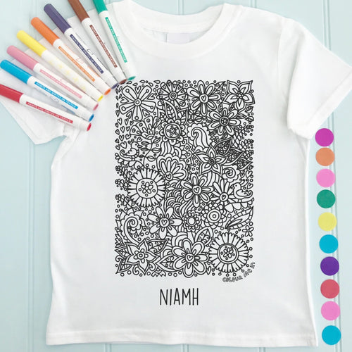 Tropical Flowers T-Shirt Personalised To Colour in