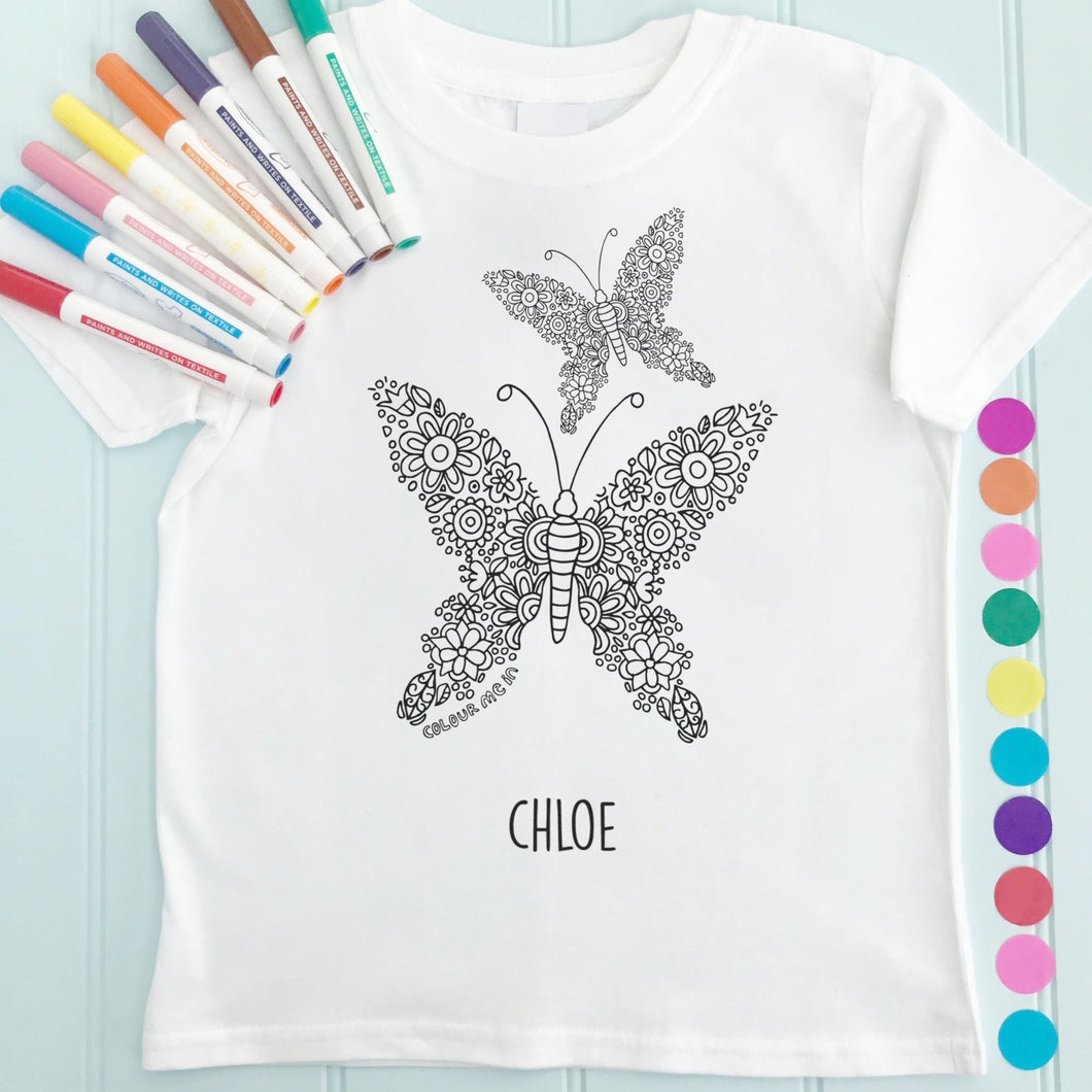 Butterfly Pair T-Shirt Personalised To Colour in