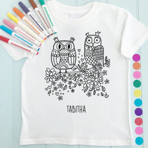 Owl Pair T-Shirt Personalised To Colour in