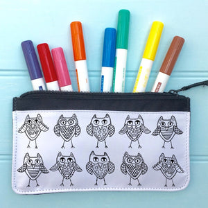 Owls Pencil Case To Colour In