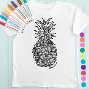 Pineapple T-Shirt Personalised To Colour in