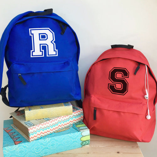 Personalised Varsity Giant Letter Backpack
