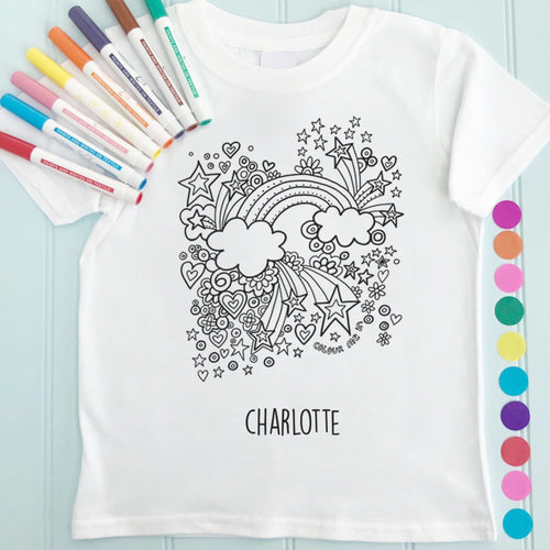 Rainbow Girls T-Shirt Personalised To Colour in