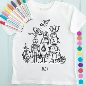 Robots T-Shirt Personalised To Colour in