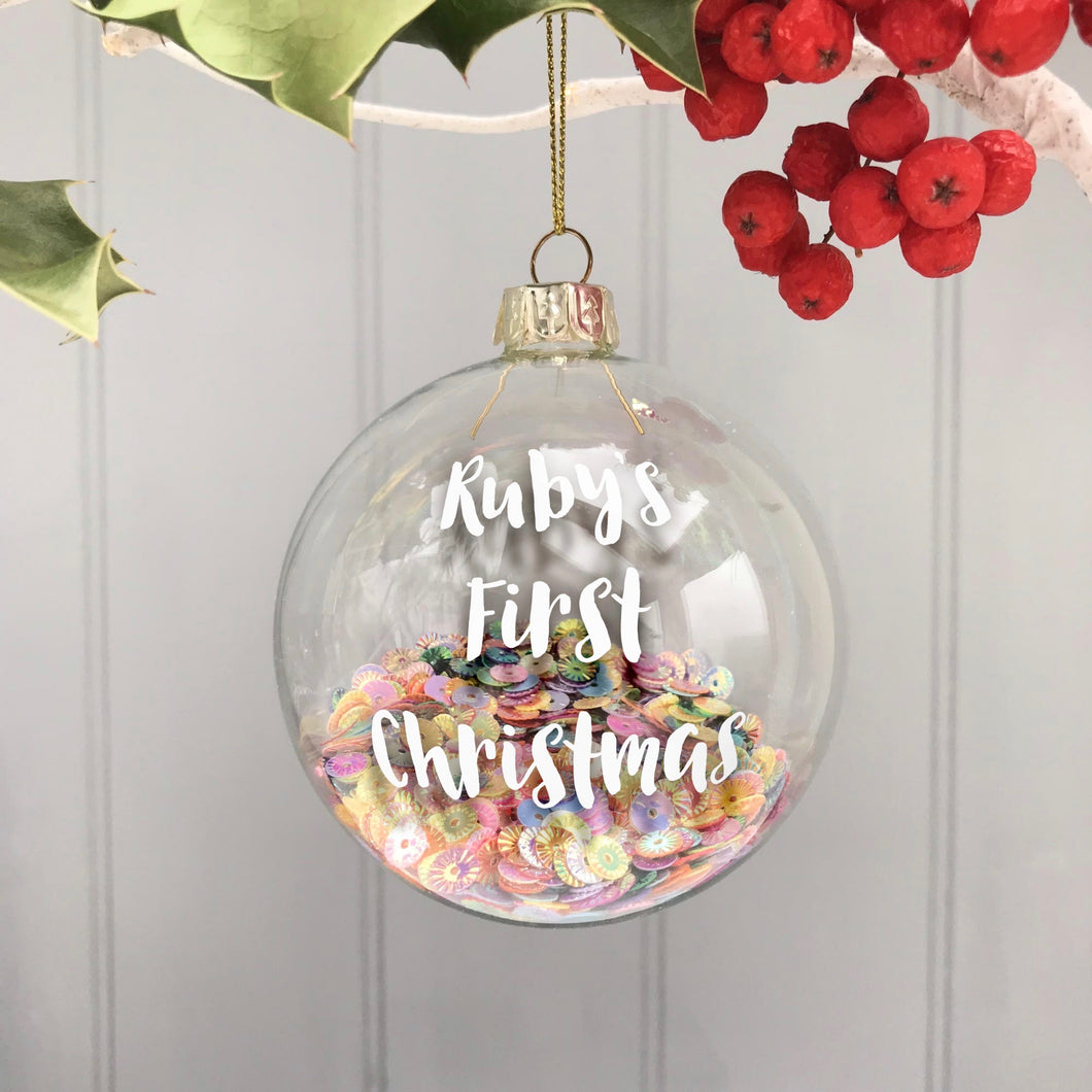 Personalised Baby's first Christmas Bauble with Sequins