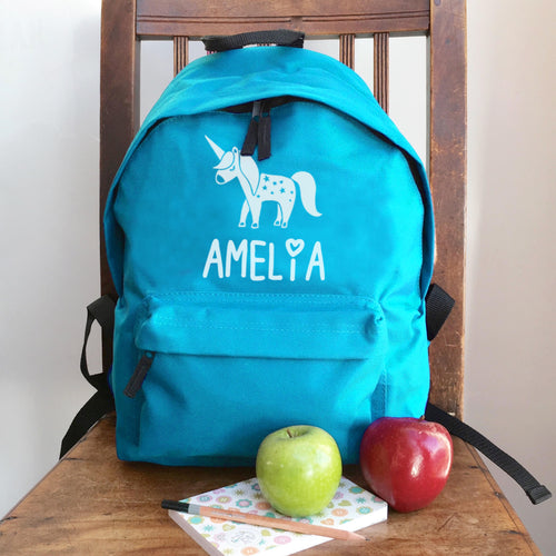Personalised Unicorn Name Backpack (Vinyl)