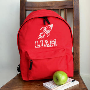 Personalised Rocket Name Backpack (Vinyl)