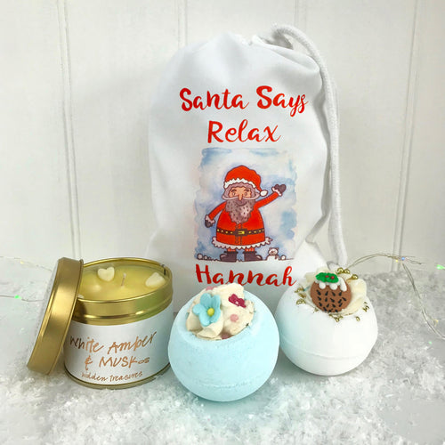 Santa Says Relax Personalised Bath Bomb Set and Candle