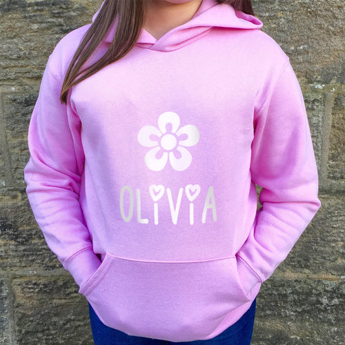 Children's Personalised Hoodie Flower