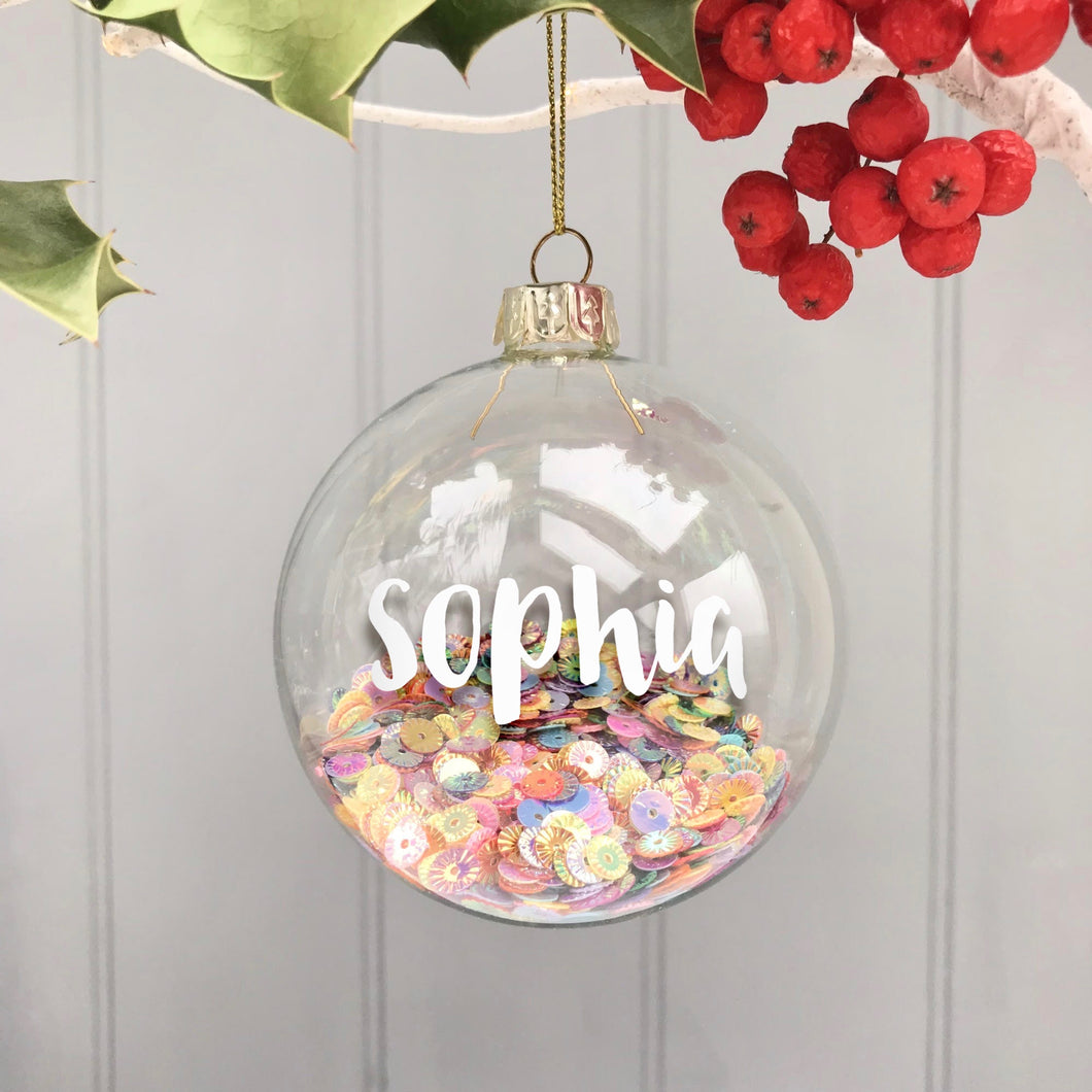 Personalised Christmas Bauble with Sequins