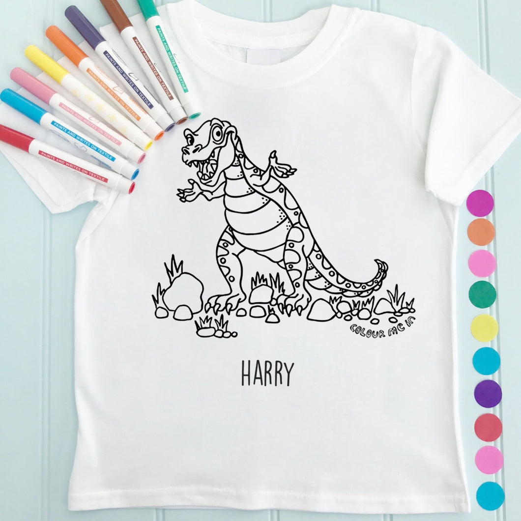 T-Rex T-Shirt Personalised To Colour in
