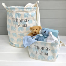 Personalised Blue Elephant Nursery storage