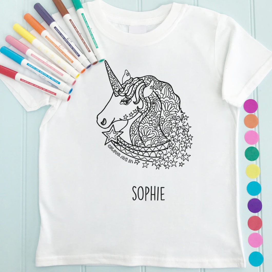 Unicorn Girls T-Shirt Personalised To Colour in
