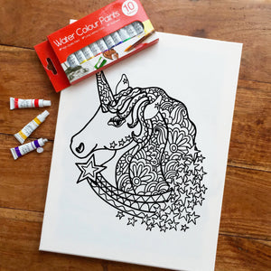 Colouring In Painting Kit Unicorn Rainbow Canvas
