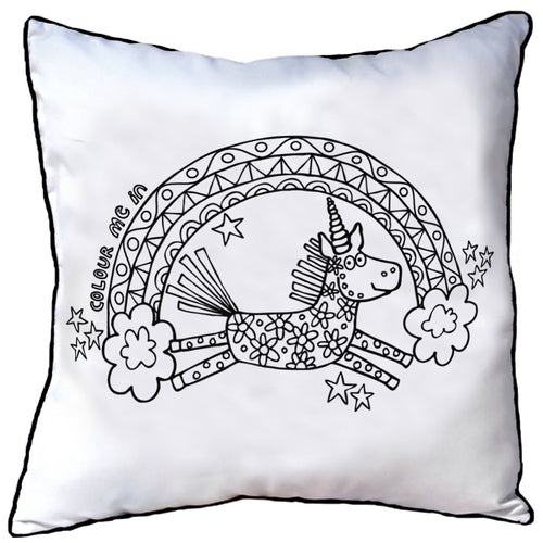 Colour In Cushion Unicorn Rainbow Design