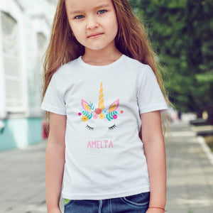 personalised flower unicorn girls t-shirt