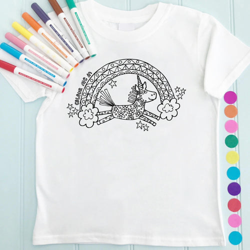 Unicorn Rainbow T-Shirt Personalised To Colour in